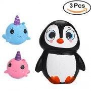 ZCGC 3Pcs Squishies Slow Rising Scented Jumbo Penguin and Soft Whale Cartoon Squishy Slow Rising Squeeze Toy squishy Phone Straps Kawaii Animal Stress Relief Toys For Kids and Adults