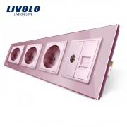 Priza cvadrupla Livolo cu rama din sticla 3 prize simple+TV/internet, roz