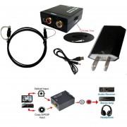 Convertidor Coaxial Óptico Toslink De Señales De Audio De TV Analógico A TV Digital-Negro