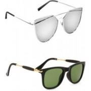 Sulit Aviator, Wayfarer, Cat-eye Sunglasses(Silver, Green)