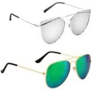 ETRG Cat-eye, Aviator Sunglasses(Silver, Blue)