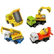 Fajiabao Metal Cars Toys Pull Back Construction Vehicle Dump Diggers Crane Cement Mixer Truck Kit for Kids Boys 4 PCS