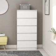 vidaXL Скрин с чекмеджета, бял, 60x35x121 см, ПДЧ