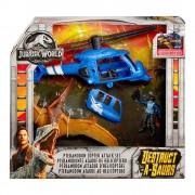 Jurassic World Pack de Dinosaurio más Helicóptero Jurassic World Mattel