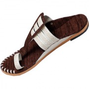 GOYAL ENTERPRISES Latest New style Rajasthani Slipper With Brown And Cream Color Mix