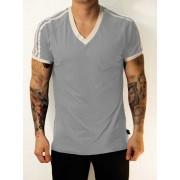 Whittall & Shon Athletic Shoulder Stripes V Neck Short Sleeved T Shirt Grey/White 168