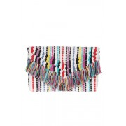 Womens Rainbow Embroidered Clutch - Multi