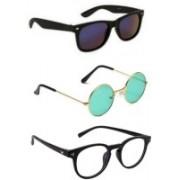 SO SHADES OF STYLE Round, Wayfarer, Retro Square Sunglasses(Black, Green, Clear)