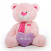 Pink 3.5 Feet Big Muffler Teddy Bear with a Purple Happy Mothers Day heart
