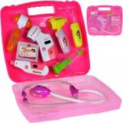Trusa de doctor in valiza, cu sunete si lumini, roz - MalPlay