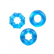 RudeRider [3 Pack] Soft Cock Rings Ice Blue