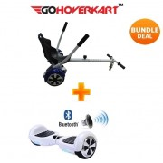 """Hoverkart and 6.5"""" Bluetooth Hoverboard Racing White Go Racer Bundle"""