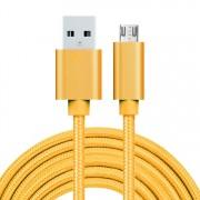MicroUSB kábel - adatkábel - fonott dizájn - 3m hosszú - SÁRGA