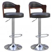 vidaXL 2 бр. черни бар стола от изкуствена кожа с виенска облегалка