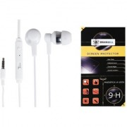 BrainBell COMBO OF UBON Earphone OG-33 POWER BEAT WITH CLEAR SOUND AND BASS UNIVERSAL And LG STYLUS 2 Glass Screen Protector