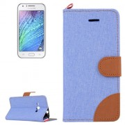 Denim Texture Horizontal Flip Leather Case with Holder & Card Slots for Samsung Galaxy J1 Ace / J110(Blue)