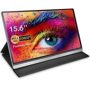 Lepow Monitor portátil de 15,6 pulgadas 1920 x 1080 Full HD USB tipo C para computadora, visualización IPS ultra delgada con puerto HDMI tipo C, doble altavoz, monitor para PC, MAC, portátil, PS4, Xbox, teléfono celular