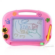 D-FantiX Small Magnetic Drawing Board for Kids Toddlers, Erasable Mini Magnet Doodle Board for Writing, Sketching, Educational Learning Drawing Toys (Pink, Travel Size)