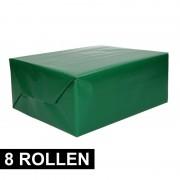Shoppartners 8x rollen cadeaupapier groen 70 x 200 cm
