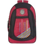 Classic Polyester School Bag |Shoulder Backpacks | Casual Bag for Girls & Boys 38 L Backpack(Red, Black)