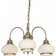 Csillár bronz / üveg opál, 3x40W E14 230V, Nostalgika 6900-3 Globo Lighting