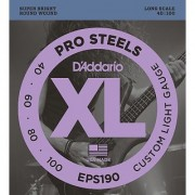D'Addario EPS190 ProSteels Bass Guitar Strings Custom Light 40-100 Long Scale
