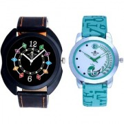 Black Dial Chain Digits And Green Peacock Couple Casual SCK Analogue Wrist Watch By Google Hub