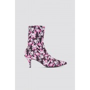 NA-KD Shoes Kitten Heel Sock Boot - Boots - Pink,Multicolor