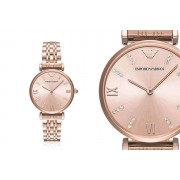 Emporio Armani Ladies Blush Rose-Gold Stainless Steel Watch