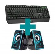 Combo Gamer Marvo Teclado Mecánico KG922 Verde + Parlantes Scorpion SG-201 Azul