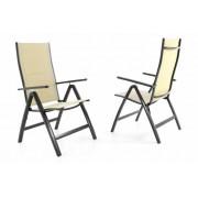 Sada dvoch záhradných skladacích stoličiek DELUXE - krémová