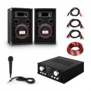 "Electronic-Star ""Easy"" DJ-Set black, amplificador PA, 2 x altavoces, micro, negro (PL_Easy_black)"
