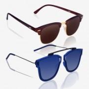 Knotyy Clubmaster, Retro Square Sunglasses(Brown, Blue)