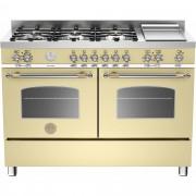 Bertazzoni HER1206 Gasspis 120 cm, 2 ugnar, 6 brännare + elektrisk tepanyaki, Beige