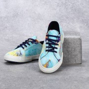 1 Baskets imprimées bleu tropical/bleu