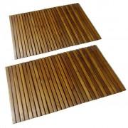 vidaXL 2 pc Tapetes de banho acácia 80 x 50 cm
