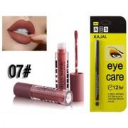 Miss Rose Liquid Matte Long Lasting Waterproof Lip gloss And ADS Extra Long Lasting Black Kajal - Combo 7