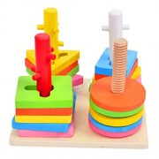 NUOLUX Wooden Puzzle Toddler Toys Shapes Sorter Preschool Geometric Blocks Stacking Games for Kids
