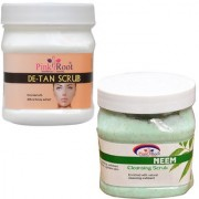 PINK ROOT DE TAN SCRUB 500GM WITH MASK 500GM WITH NEEM SCRUB 500GM