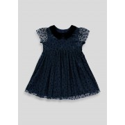 Matalan Girls Navy Short Sleeve Party Dress (9mths-6yrs) in Age 18 - 23 Months