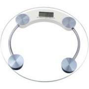 Qoibito Personal Health Human Body Digital Weight Machine Round Transparent Glass Weighing Scale(White)