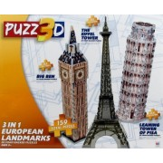 Puzz3D 3 in 1 European Landmarks- Big Ben, The Eiffel Tower, and The Leaning Tower of Pisa