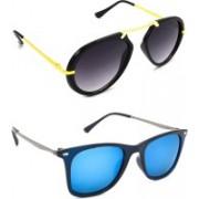 Hrinkar Wrap-around Sunglasses(Grey, Silver)