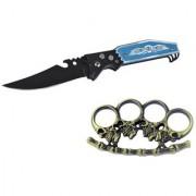 prijam Pocket Knife BLK-56 (21cm) Model & GHKP-76 Fire Model Knuckle Punch Pack of 2 Products