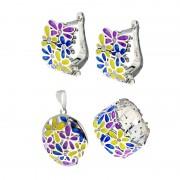 Set din argint multicolor cu email