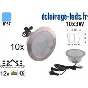 Kit 10 spots LED encastrables Mur et Sol 30w bleu 12v