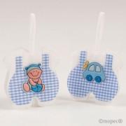 Saquito azul cuadritos bebé/coche