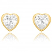 Cercei Borealy Aur Galben 9 K White Crystal Heart