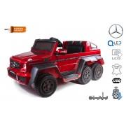 Masina electrica cu raid pe carucior Mercedes-Benz G63 6X6, Ecran LCD, Lumini pe roti si luminatoare de fund, 2.4Ghz, 12V14AH, Baterie detașabilă, 4x MOTOR, Telecomandă, Scaun din piele dublă, Roți EVA, Radio FM, Două pedale Unul pentru copil, roșu pictat