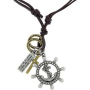 The Jewelbox Hip Hop Punk Anchor Cross Bronze Vintage Dog Tag Oxidised Plated Leather Pendant Chain Boys